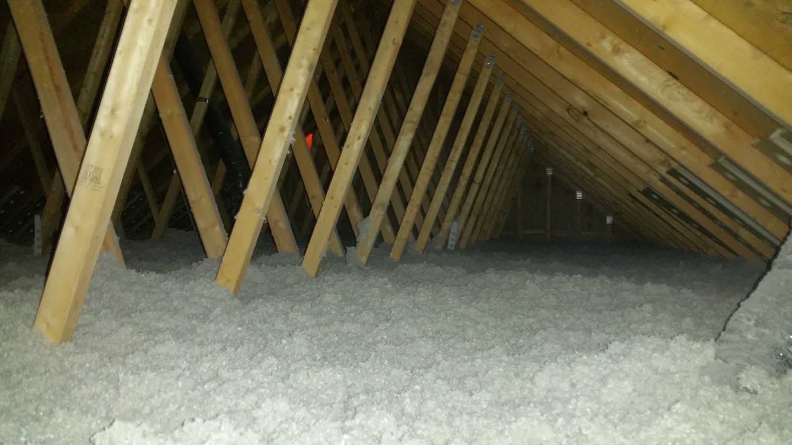 Cellulose Installation, Open blown attic with cellulose, attic markers and styrofoam air chutes, MGT Insulation, Inc.