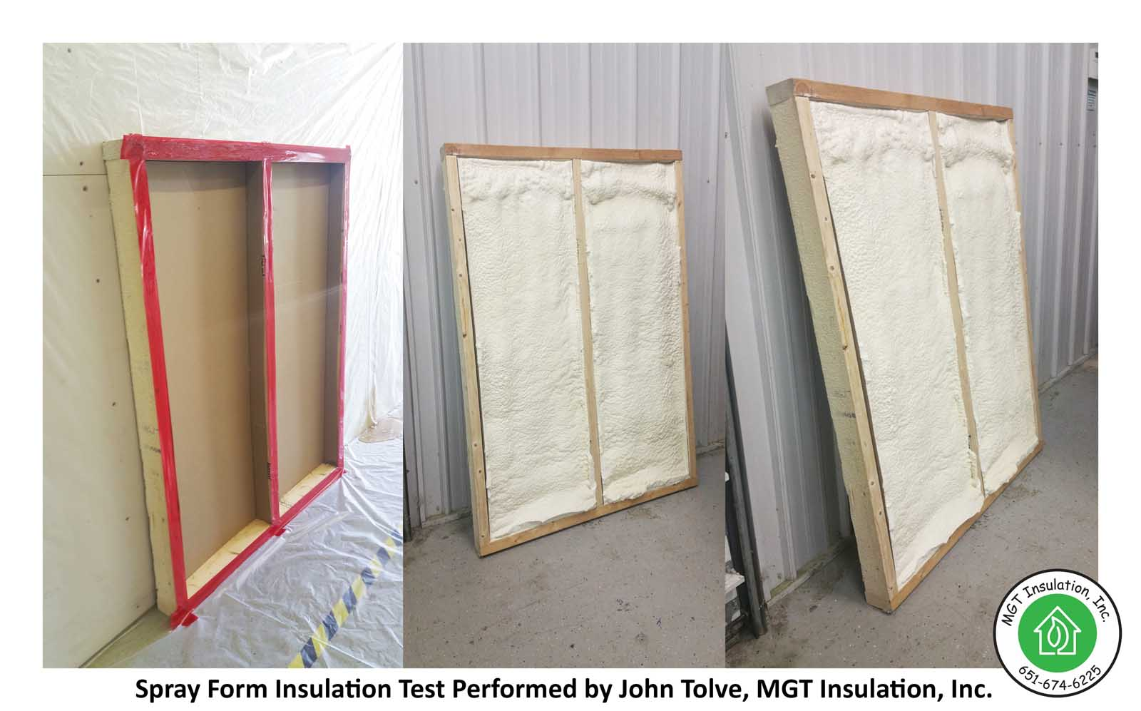 Insulation Services Page, Gallery, Spray Foam Insulation Installation Test on Sidewall cavities, MGT Insulation, Inc