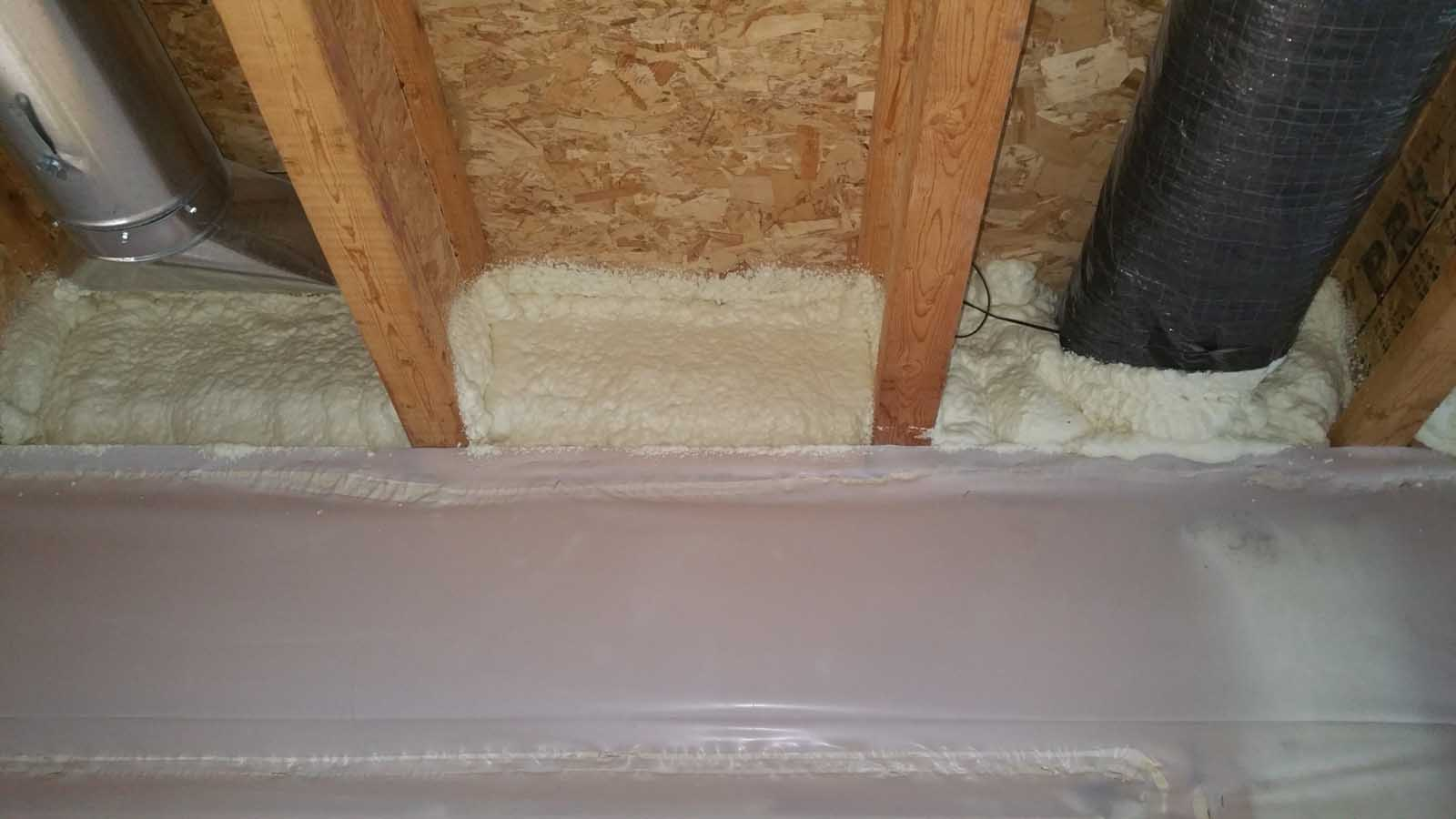 Rim Joist Installation, Basement rim joist sealed with spray foam insulation, MGT Insulation, Inc.